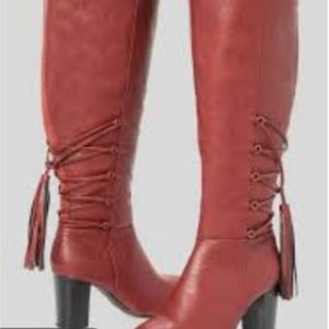 Red  Wide Calf Tassel BOOTS